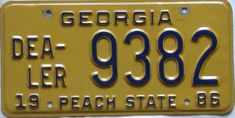 1986 Georgia  (Dealer) license plate for sale