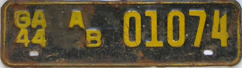 YOM 1944 Georgia  (Truck) license plate for sale