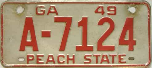YOM 1949 Georgia license plate for sale