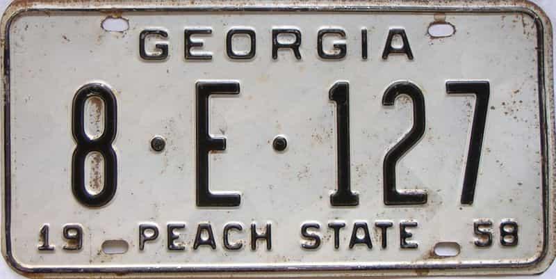 YOM 1958 Georgia (Cobb) license plate for sale
