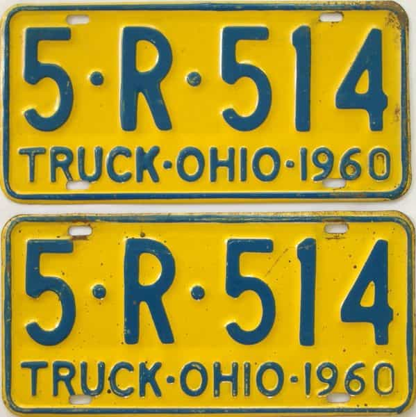 1960 OH (Truck) license plate for sale