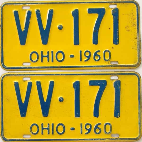 1960 OH (Pair) license plate for sale