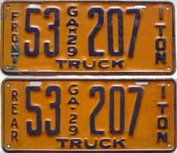 YOM 1929 Georgia  (Truck) license plate for sale