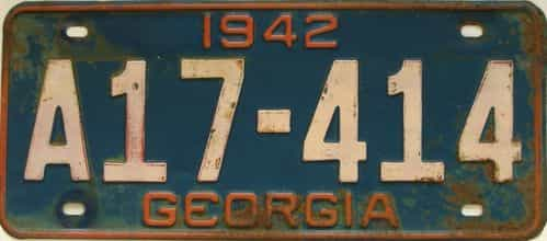 YOM 1942 Georgia license plate for sale