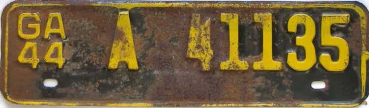 YOM 1944 Georgia license plate for sale
