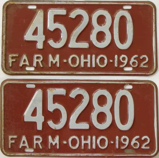 1962 OH (Non Pass) license plate for sale