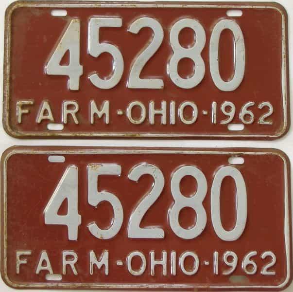 1962 Ohio (Non Pass) license plate for sale