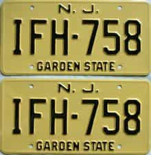 1963 New Jersey  (Pair) license plate for sale