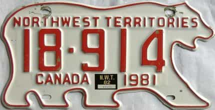 1982 NWT  (Single) license plate for sale