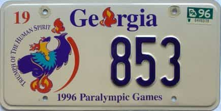 1996 Georgia license plate for sale