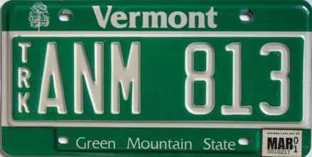 2001 Vermont  (Truck) license plate for sale