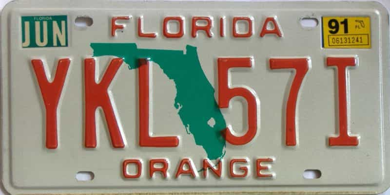 1991 Florida license plate for sale