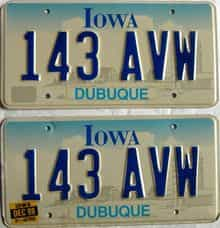 1998 Iowa  (Pair) license plate for sale
