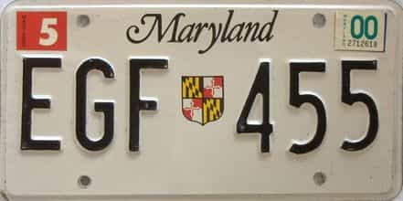 2000 Maryland  (Single) license plate for sale