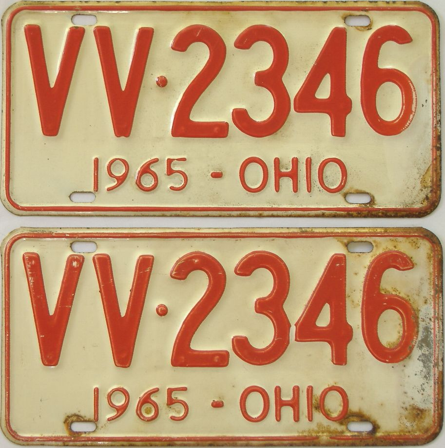 1965 Ohio (Pair) license plate for sale