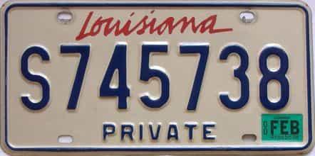 2000 Louisiana license plate for sale