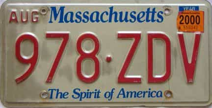 2000 Massachusetts  (Single) license plate for sale