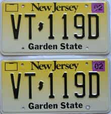 2002 New Jersey  (Pair) license plate for sale