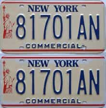 1986 New York  (Pair) license plate for sale