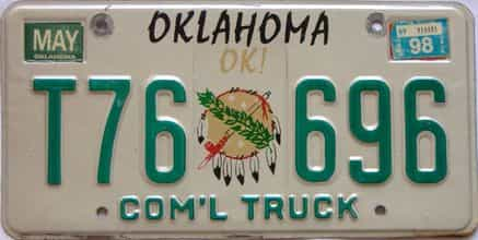 1998 Oklahoma  (Truck) license plate for sale
