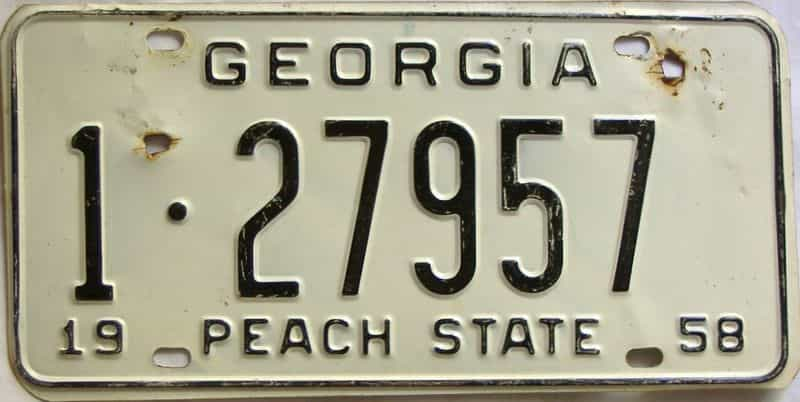 YOM 1958 Georgia (Fulton) license plate for sale