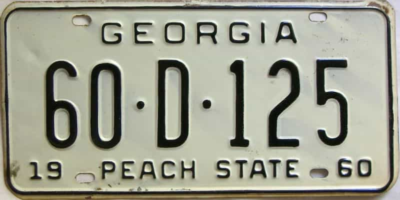YOM 1960 Georgia (Henry) license plate for sale