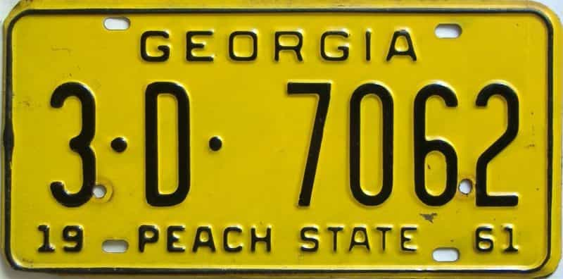 YOM 1961 Georgia (De Kalb) license plate for sale