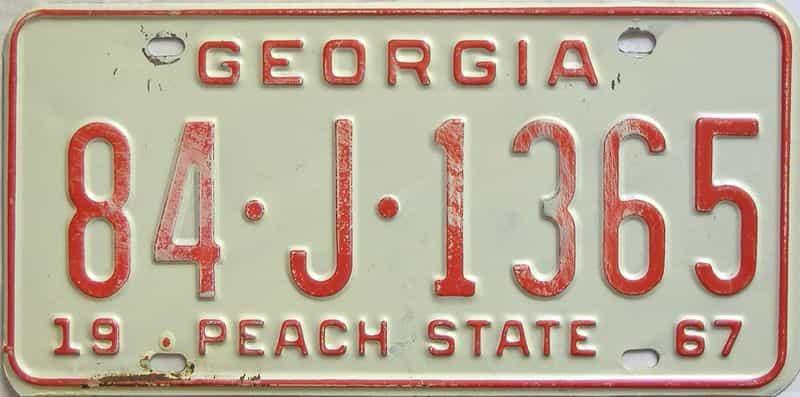 YOM 1967 Georgia (Madison) license plate for sale