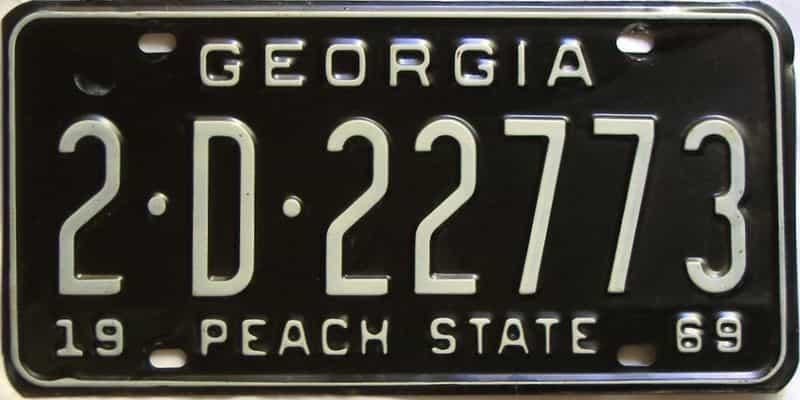 YOM 1969 Georgia (De Kalb) license plate for sale