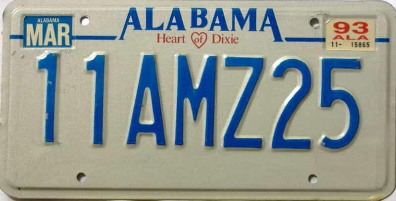1993 Alabama license plate for sale