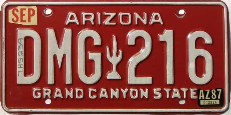 1987 Arizona license plate for sale