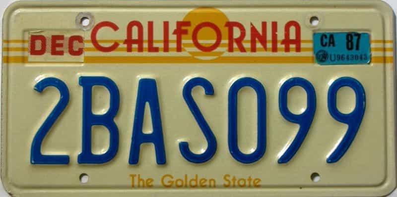 1987 California  (Single) license plate for sale