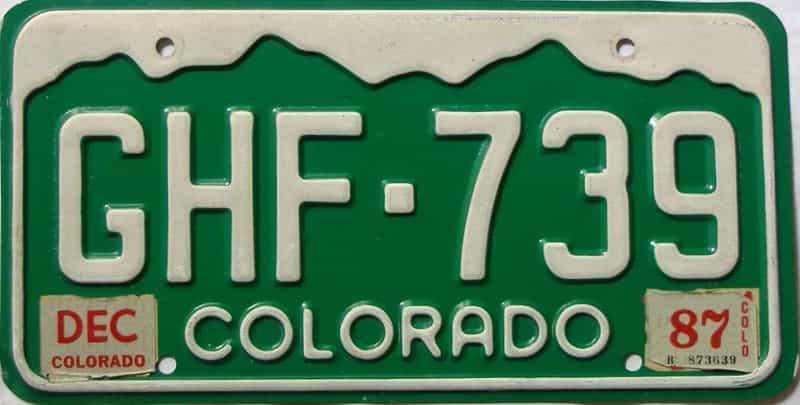 1987 Colorado  (Single) license plate for sale