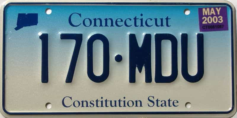 2003 Connecticut  (Single) license plate for sale