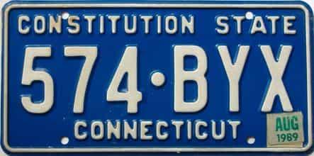 1989 Connecticut  (Single) license plate for sale