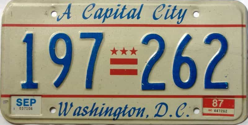 1987 District Of Columbia  (Single) license plate for sale