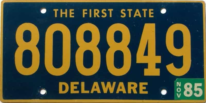 1985 Delaware license plate for sale