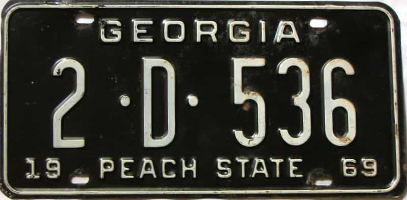 YOM 1969 Georgia (De Kalb) license plate for sale