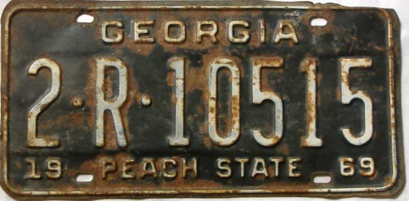 YOM 1969 Georgia (De Kalb) (Truck) license plate for sale