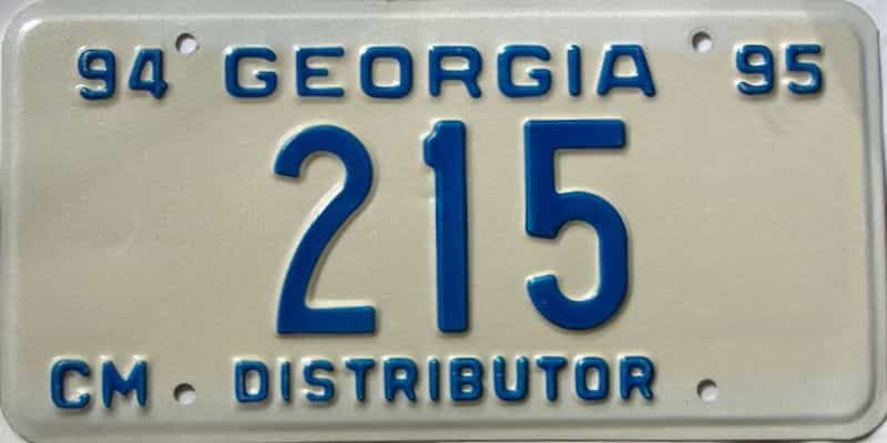 1994 Georgia  (Non Passenger) license plate for sale