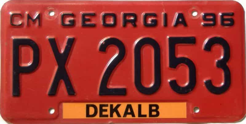 1996 Georgia  (Non Passenger) license plate for sale