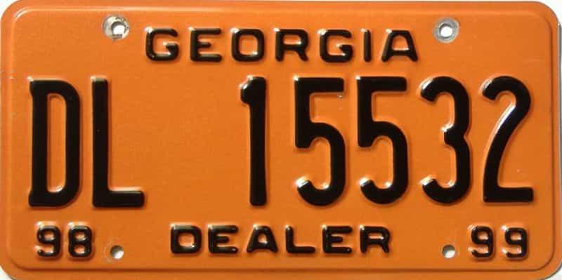 1998 Georgia  (Dealer) license plate for sale