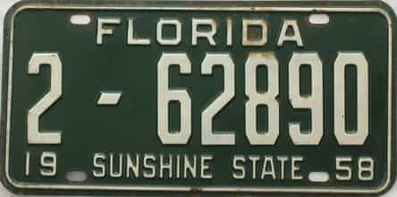 1958 Florida license plate for sale