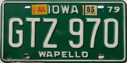 1985 Iowa  (Single) license plate for sale