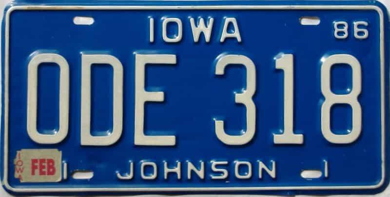 1986 Iowa  (Single) license plate for sale