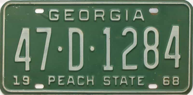 YOM 1968 Georgia license plate for sale