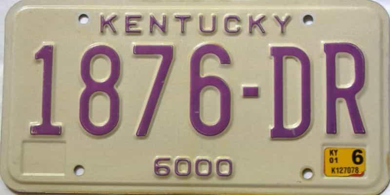 2001 Kentucky  (Non Passenger) license plate for sale