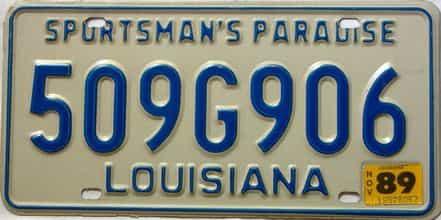 1989 Louisiana license plate for sale