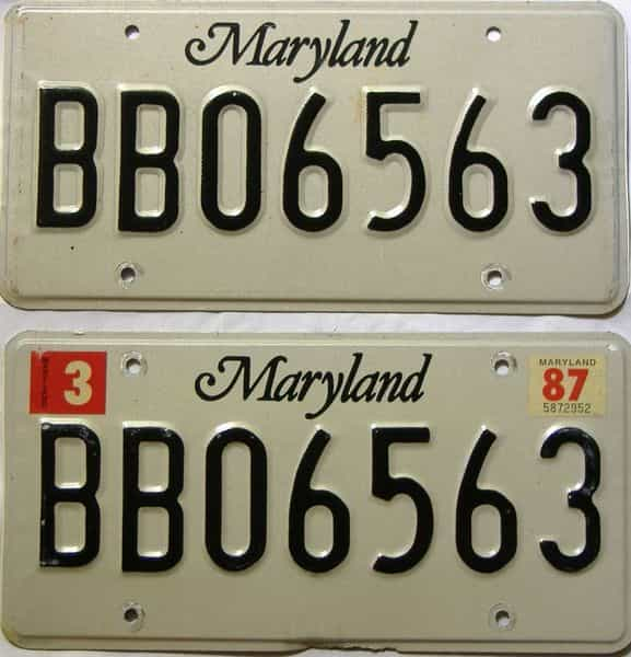 1987 Maryland  (Pair) license plate for sale