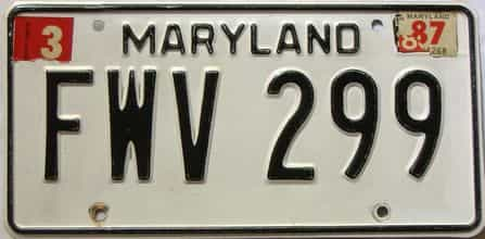 1987 Maryland  (Single) license plate for sale
